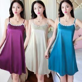 冰丝睡衣女士夏季夏款韩版女士薄款性感吊带睡裙