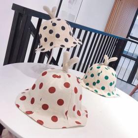 1-3岁宝宝韩版可爱波点渔夫帽遮阳帽子潮