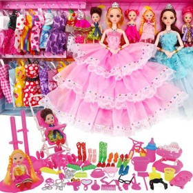 芭比娃娃套装屋女孩公主儿童玩具衣服裙子过家家洋娃娃
