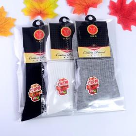 秋冬季纯色 男士独立包装棉袜 中筒袜 赠品袜子