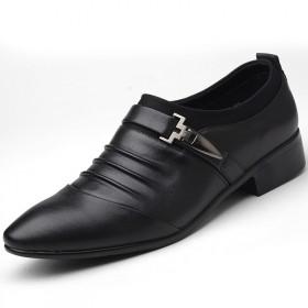 商務休閑皮鞋男士婚鞋正裝鞋英倫時尚尖頭大碼低幫鞋男
