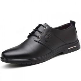 男士真皮皮鞋系带商务正装鞋子男尖头加绒休闲鞋牛皮鞋