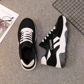 新款拼色运动鞋休闲鞋女学生跑步鞋厚底松糕旅游阿甘鞋