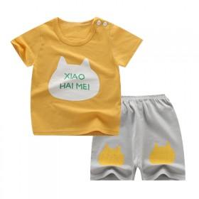 夏季儿童短袖套装T恤潮衣男女宝宝可爱卡通短裤两件套