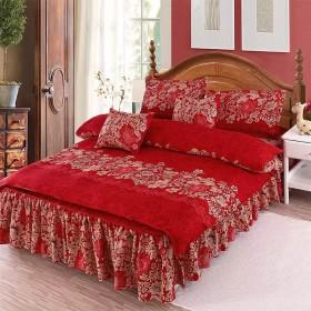 韩版床裙四件套磨毛婚庆卡通床裙床罩床上用品四件套
