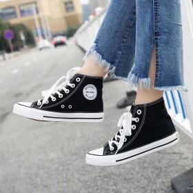 春季高帮帆布鞋女鞋新款韩版休闲平底板鞋女学生系带鞋