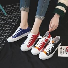 新款帆布鞋女学生韩版百搭原宿拼色时尚平底系带女鞋子