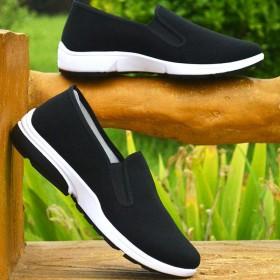 老北京布鞋一脚蹬懒人鞋爸爸鞋男黑布鞋工作鞋平底鞋男