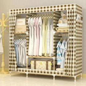 简易衣柜布衣柜加粗实木组装牛津布双人经济收纳衣橱