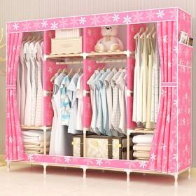 简易衣柜实木布衣柜双人组装衣橱折叠加大收纳架储物柜