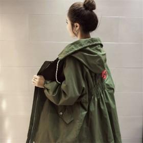 大码女装春秋韩版学生宽松连帽外套女中长款薄单层风衣