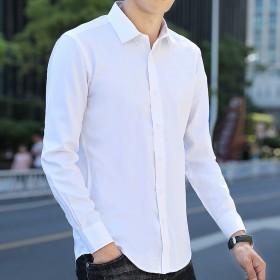 白衬衫男士长袖商务休闲寸衫青年韩版潮流帅气长袖衬衣