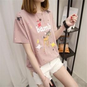 韩版大码女装打底衫2019夏季新品短袖t恤女时
