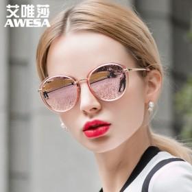 新款复古炫彩膜潮墨镜驾驶镜偏光眼镜圆脸太阳镜女轻盈