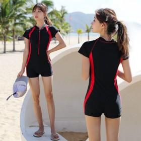 连体泳衣女新款温泉游泳衣妈妈款女保守时尚遮肚显瘦运