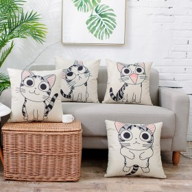 卡通猫咪抱枕客厅沙发靠背腰枕靠垫棉麻汽车靠枕抱