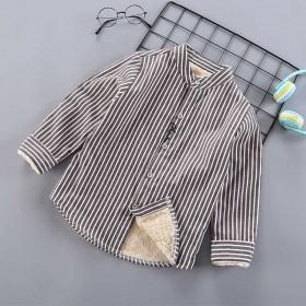 儿童男童加绒条纹衬衫韩版加厚棉衬衣外套开衫潮男孩春