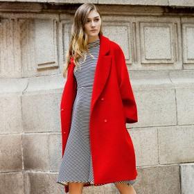 品牌女装大衣中长款羊毛尼大码外套换季大清仓