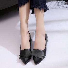 韩版百搭低跟女单鞋平跟鞋甜美工作鞋女粗跟小皮鞋子女