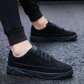 春夏男鞋子平底运动板鞋男士休闲社会潮鞋系带男学生鞋