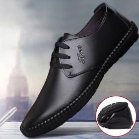 男士皮鞋透氣皮面休閑鞋系帶平底軟底學生鞋圓頭低幫鞋