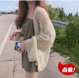 春夏防晒显瘦慵懒chic风毛衣外套韩系女上衣空调衫