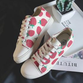网红高帮草莓板鞋女鞋学生韩版百搭新款帆布鞋