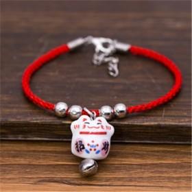 陶瓷招财猫情侣手链铃铛一条