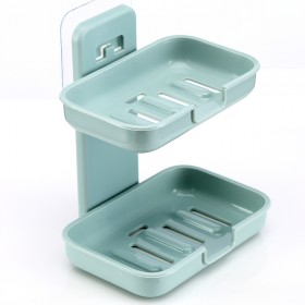 买二送一】浴室创意无痕贴肥皂盒壁挂式香皂架沥水双层