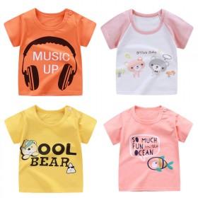 宝宝短袖t恤夏季纯棉婴儿上衣男童女童打底衫半袖夏装