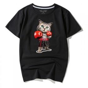 肥佬短袖t恤男潮流衣服7XL宽松胖子拳击猫男装男士