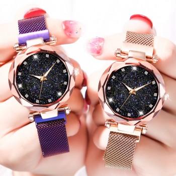 新款潮流星空夜光简约石英表女士手表时尚大气防水女青