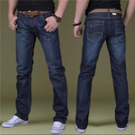 男士牛仔裤男新款青年修身常规男裤商务直筒宽松牛仔裤