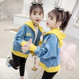 女童牛仔外套春装儿童中大童连帽休闲夹克韩版女孩上衣