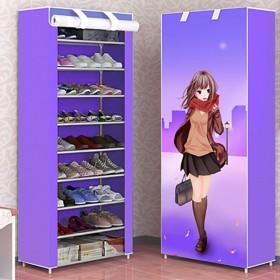 8-10层防尘鞋柜门厅喷塑钢管加厚无纺布自由组合