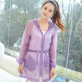 防晒衣女中长款防紫外线夏季新款韩版大码外套薄款长袖