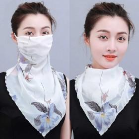 春夏季防晒口罩护颈女士雪纺透气面罩骑车防紫外线丝巾