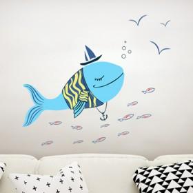 卡通海豚墙贴纸儿童房男女孩宝宝卧室墙壁贴画幼儿园