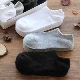 10双装 浅口船袜男女袜黑白灰三色袜子韩版时尚简约