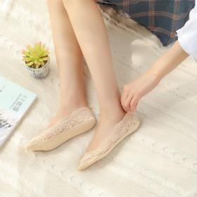 蕾丝袜子船袜女纯棉春夏薄款浅口隐形袜硅脚防滑短袜