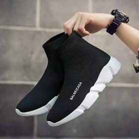 新款弹力袜子鞋女2019春季休闲高帮运动网红女鞋