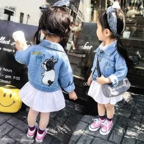 女童牛仔外套春秋洋气中小童宝宝上衣短款公主百搭