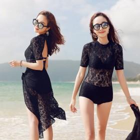 性感蕾丝三件套温泉韩国小胸聚拢泳衣女保守大码连体显