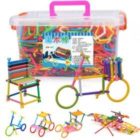 138根聪明棒儿童玩具魔术棒儿童塑料积木益智拼插男