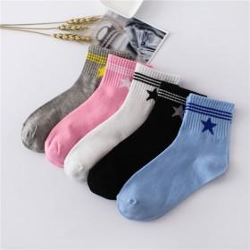 新品纯色中筒袜女袜松口彩色堆堆袜条纹
