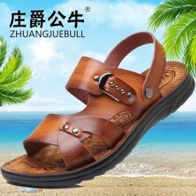 真皮牛皮男士凉鞋2019新款夏季透气青年中年沙滩鞋