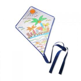 DIY空白风筝填色绘画纯白儿童卡通涂鸦颜料线板