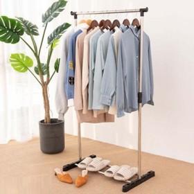 简易落地单杆式伸缩升降晾衣杆衣架