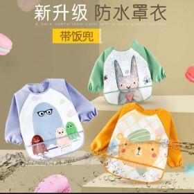 宝宝吃饭罩衣围兜防水婴儿反穿衣春夏秋冬长袖儿童围裙
