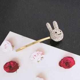 韩国兔子发夹少女刘海夹网红优雅边夹简约侧边兔头一字